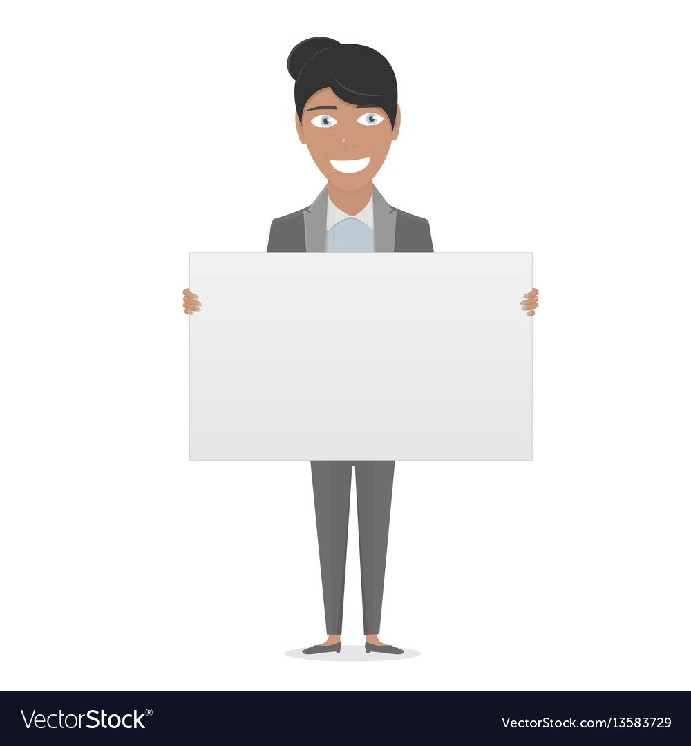 White board in his hands for you text business vector image