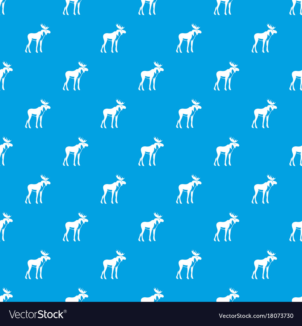 Moose pattern seamless blue vector image