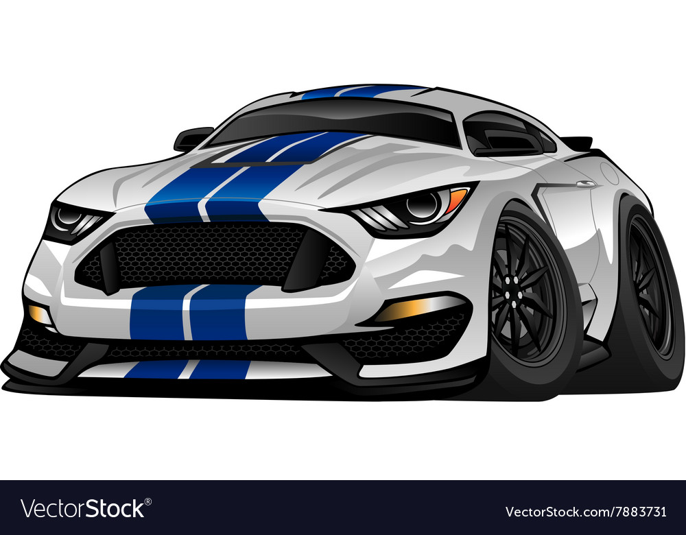 Modern American Muscle Car Cartoon Royalty Free Vector Image