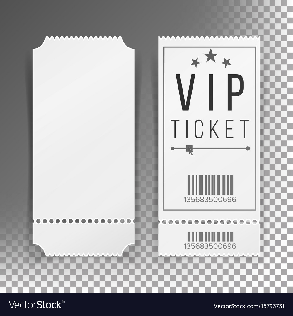 Ticket Template Set Blank Theater Cinema Vector Image  Blank Tickets Template