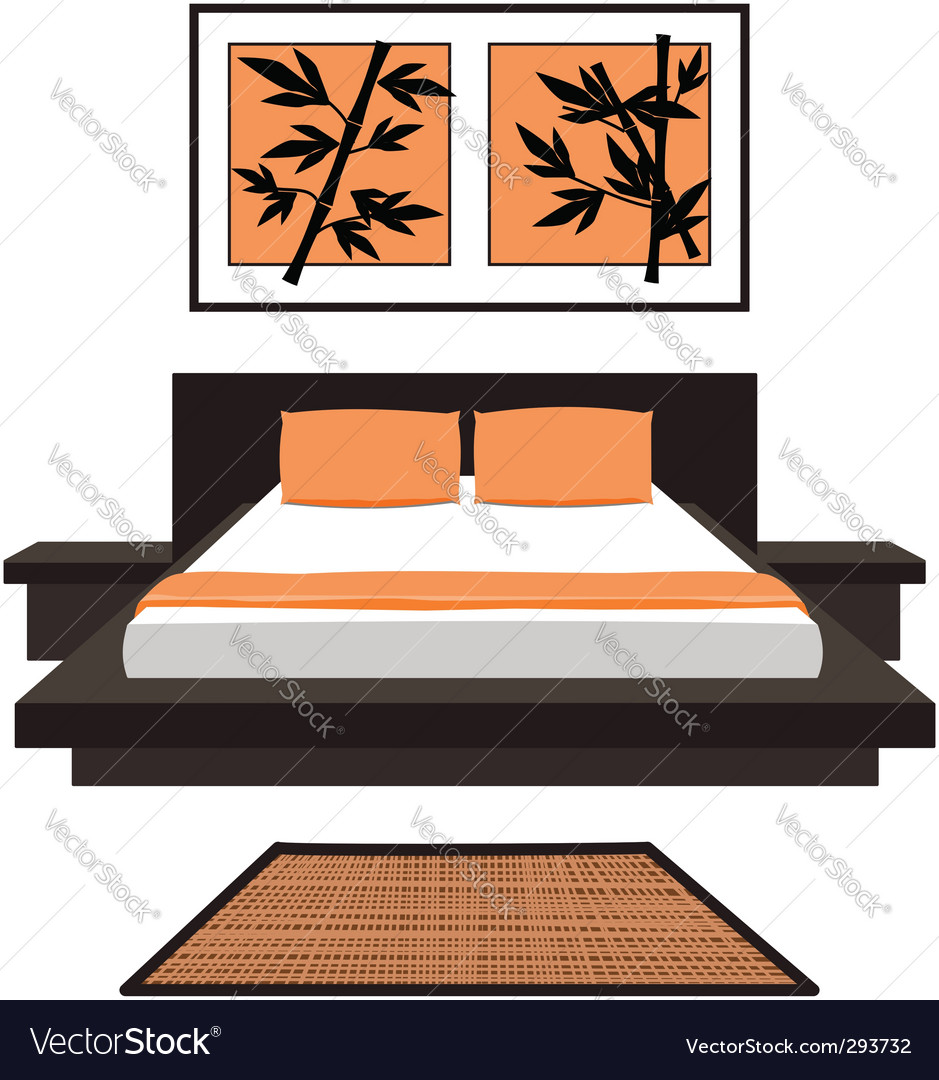 Japanese bedroom vector image