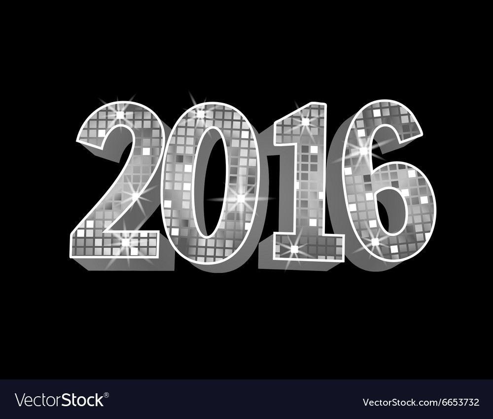 Number 2016 formed by glowing silver squares vector image