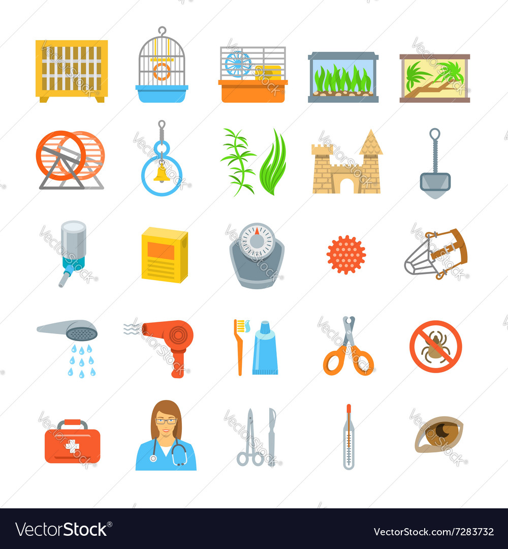 Pets grooming and healthcare accessories flat vector image