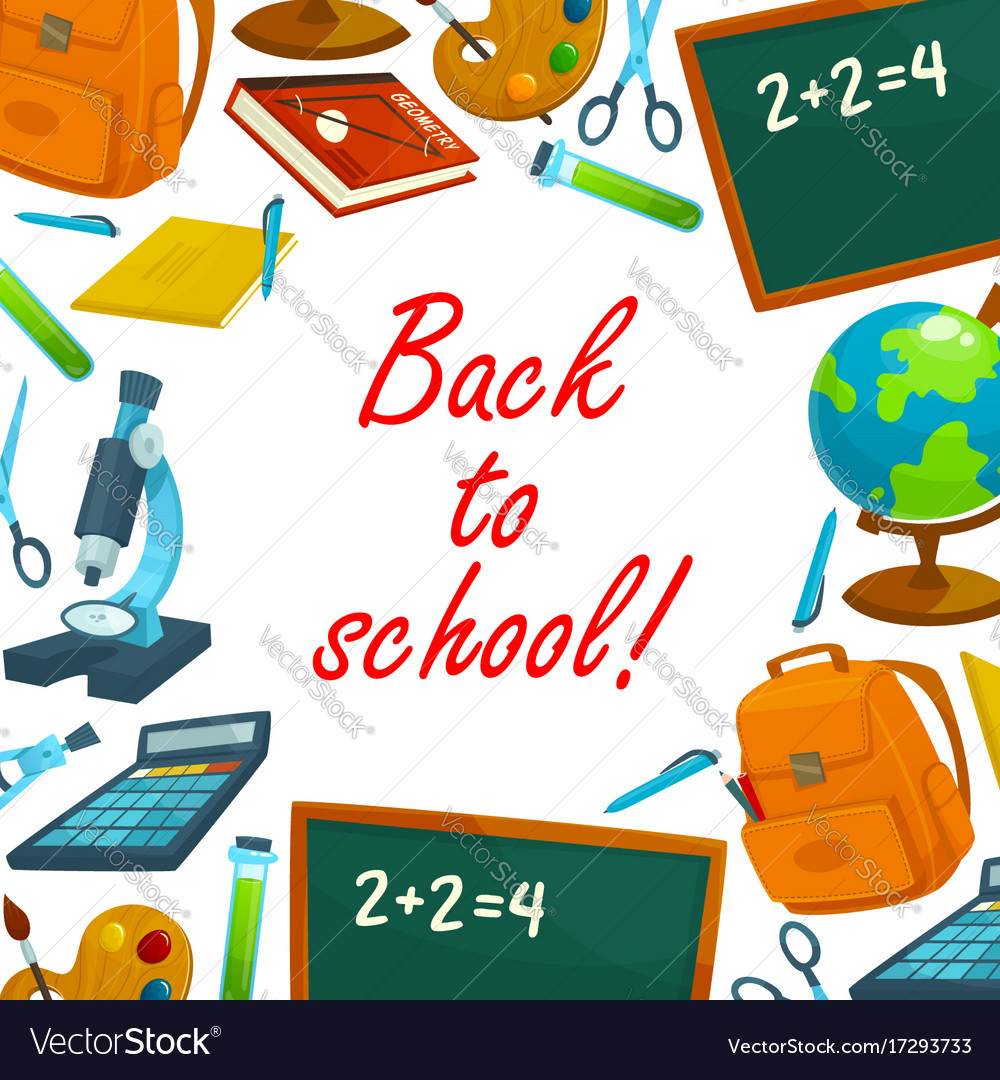 Back to school education background poster Vector Image