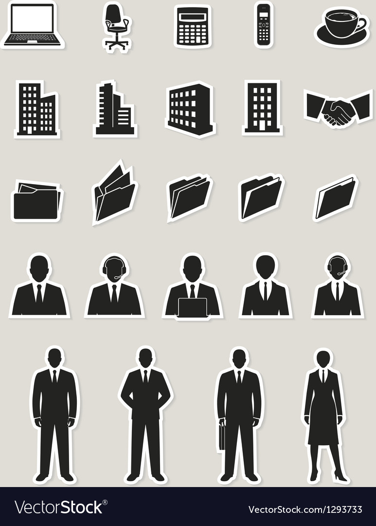 Office and business web icons set vector image
