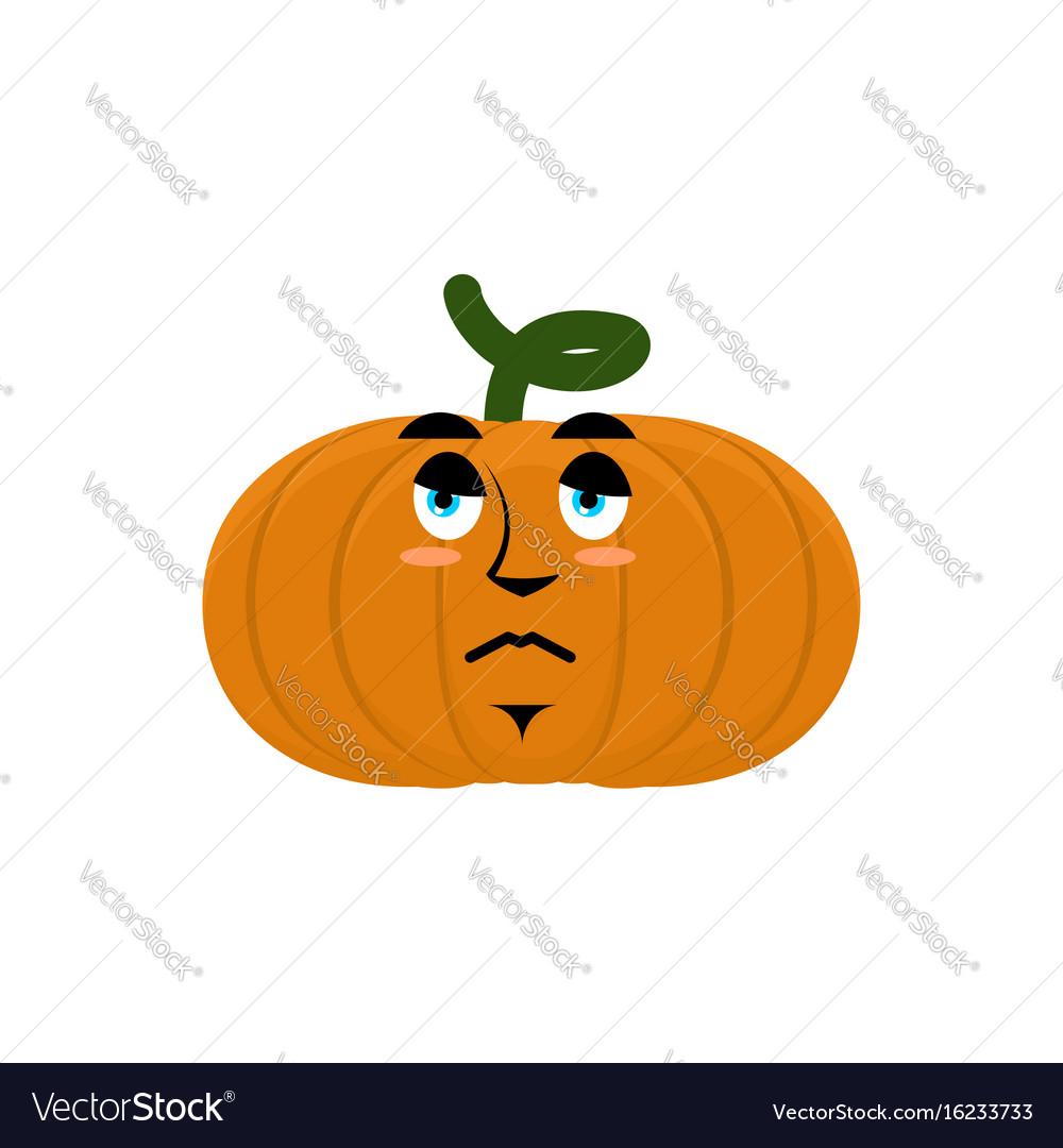 Pumpkin sad angry emoji halloween vegetable vector image