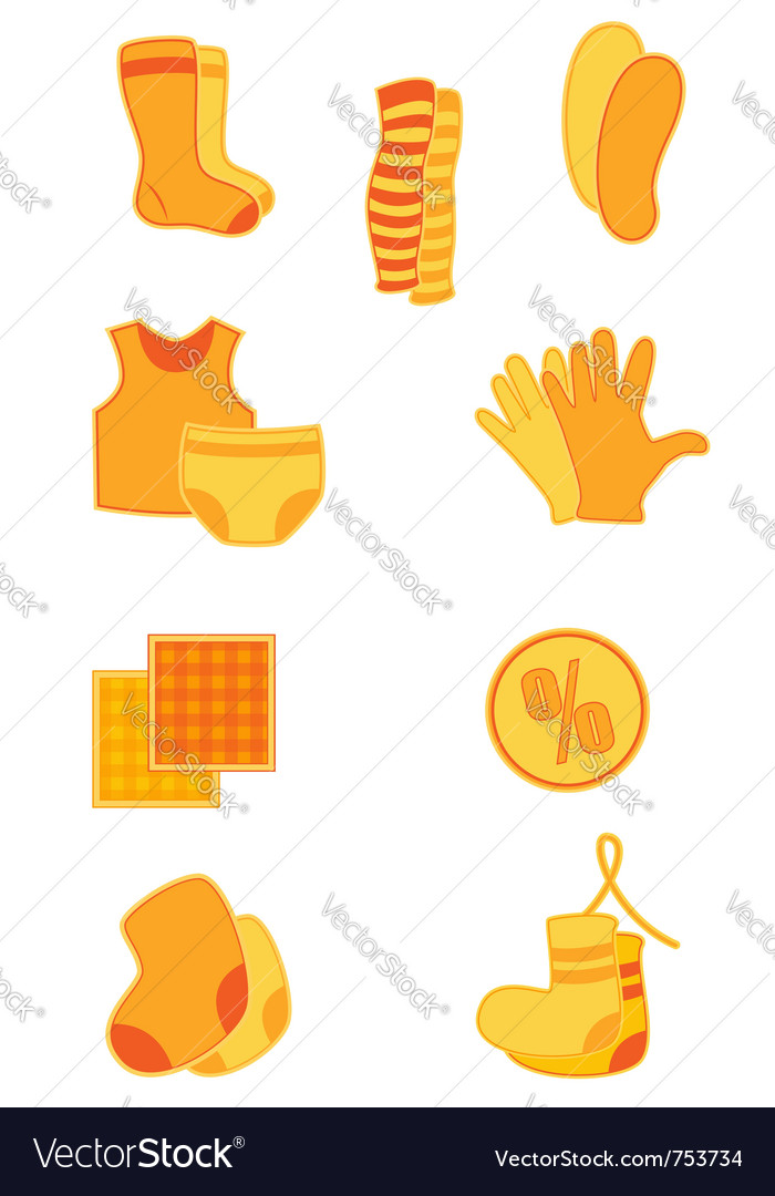Bright orange clothes and underwear icons vector image