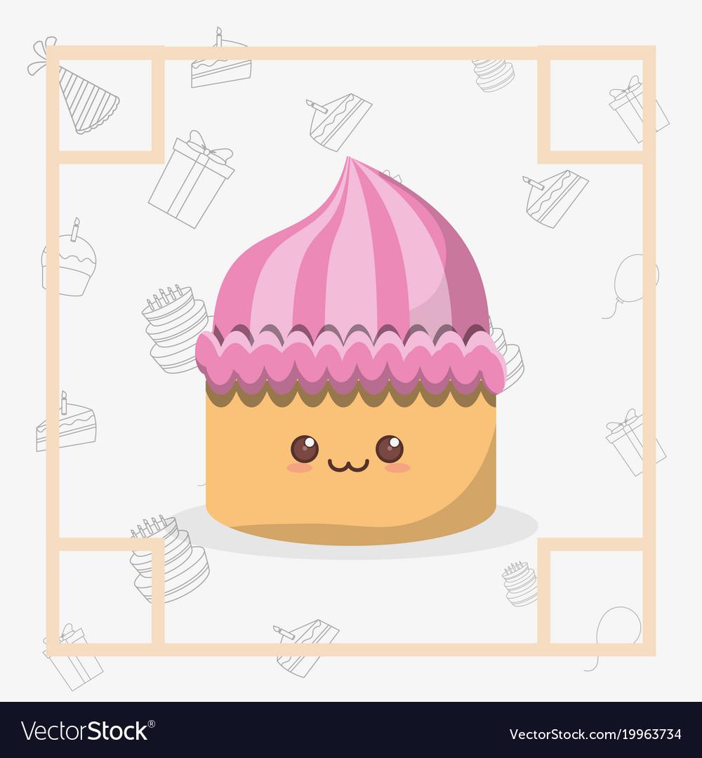 Kawaii birthday cake icon Royalty Free Vector Image