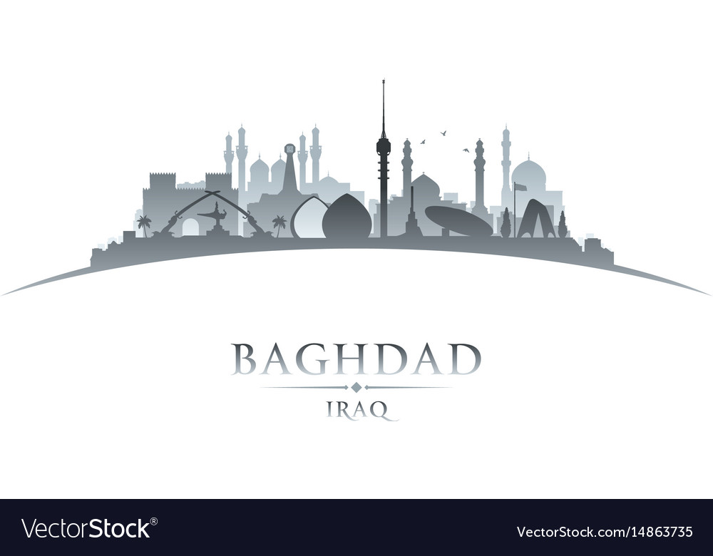 Baghdad iraq city skyline silhouette white vector image