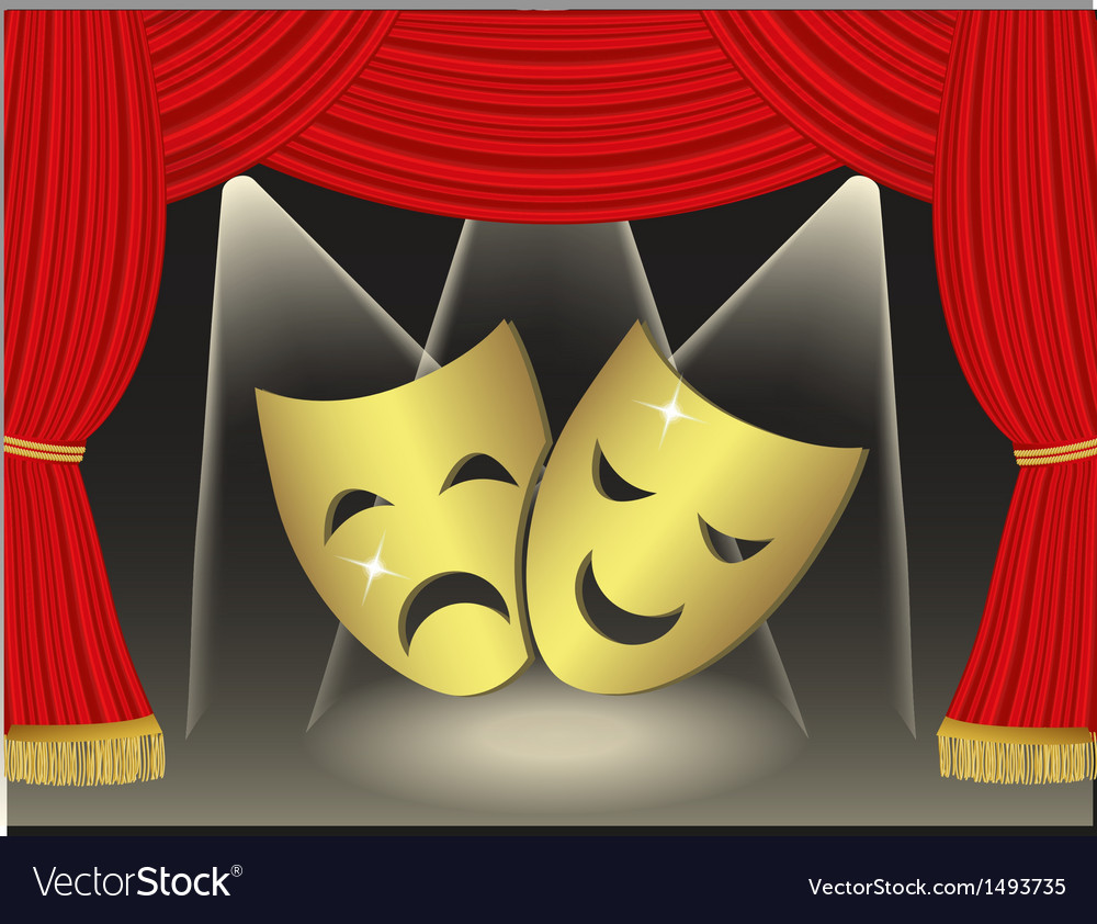 Theatrical masks on red curtains background vector image