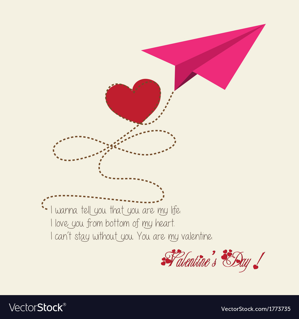 Valentine greeting hearts paper airplane vector image kristyandbryce Images
