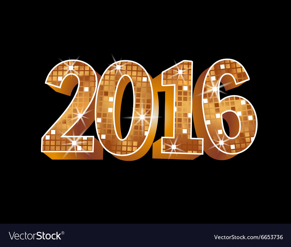 Number 2016 formed by glowing gold squares vector image
