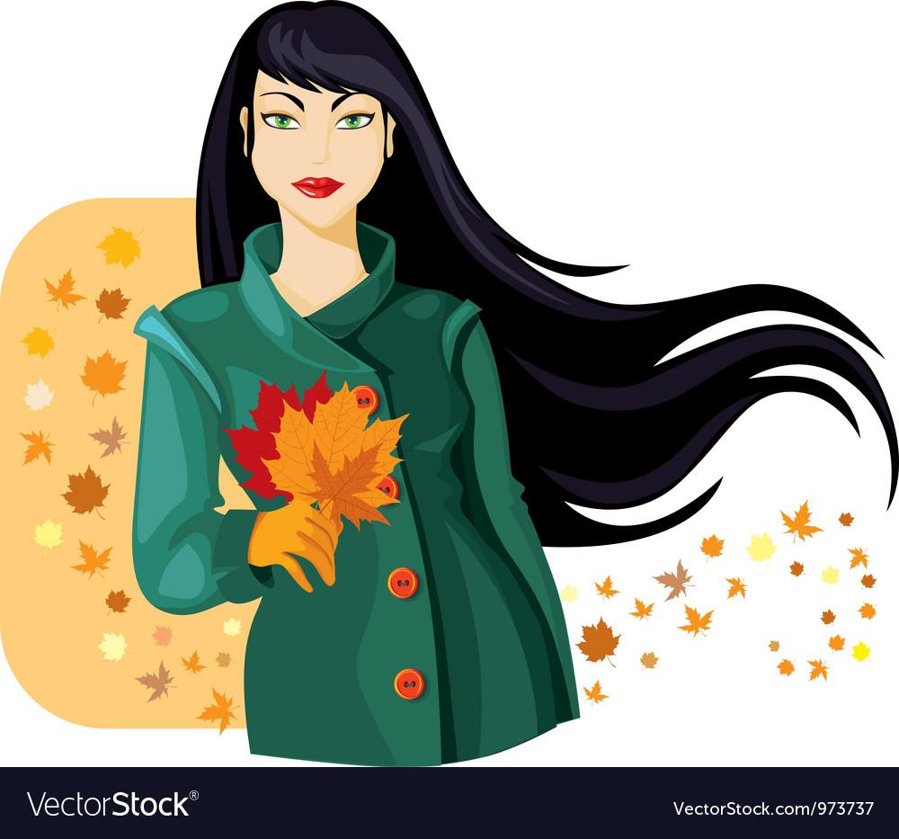 Autumn lady vector image