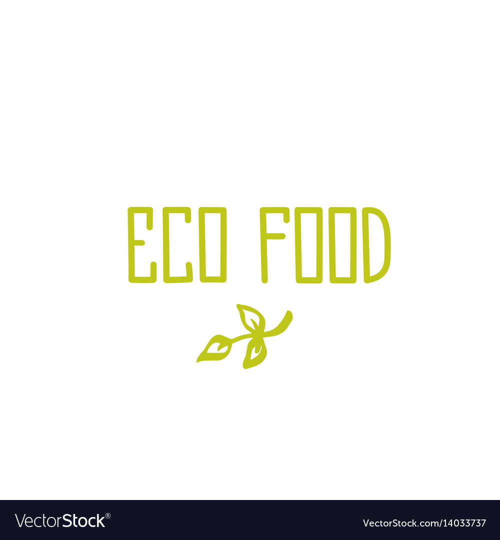 Eco food - hand drawn brush text badge sticker vector image