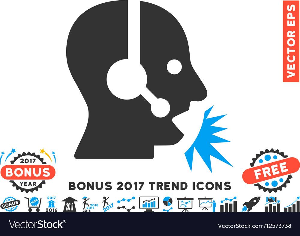 Operator Speech Flat Icon With 2017 Bonus Trend vector image