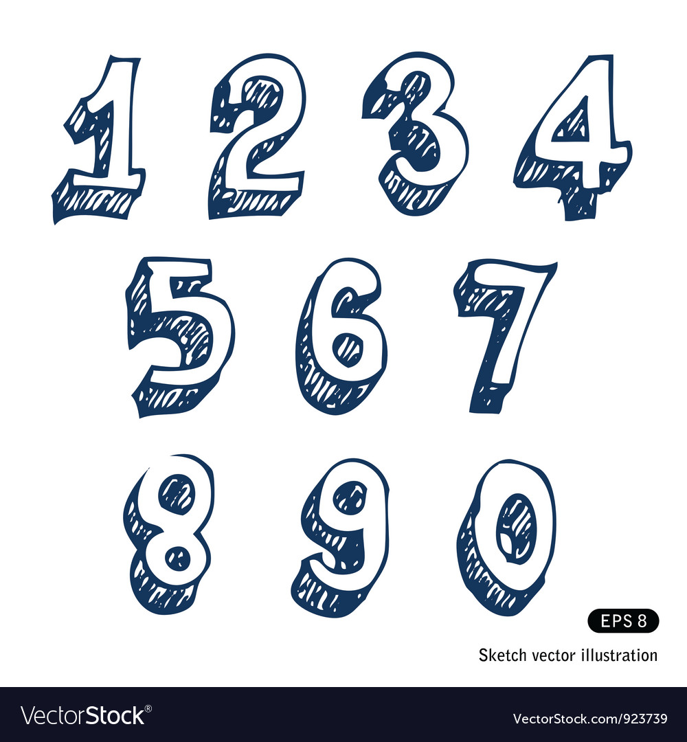 Hand-drawn numbers vector image