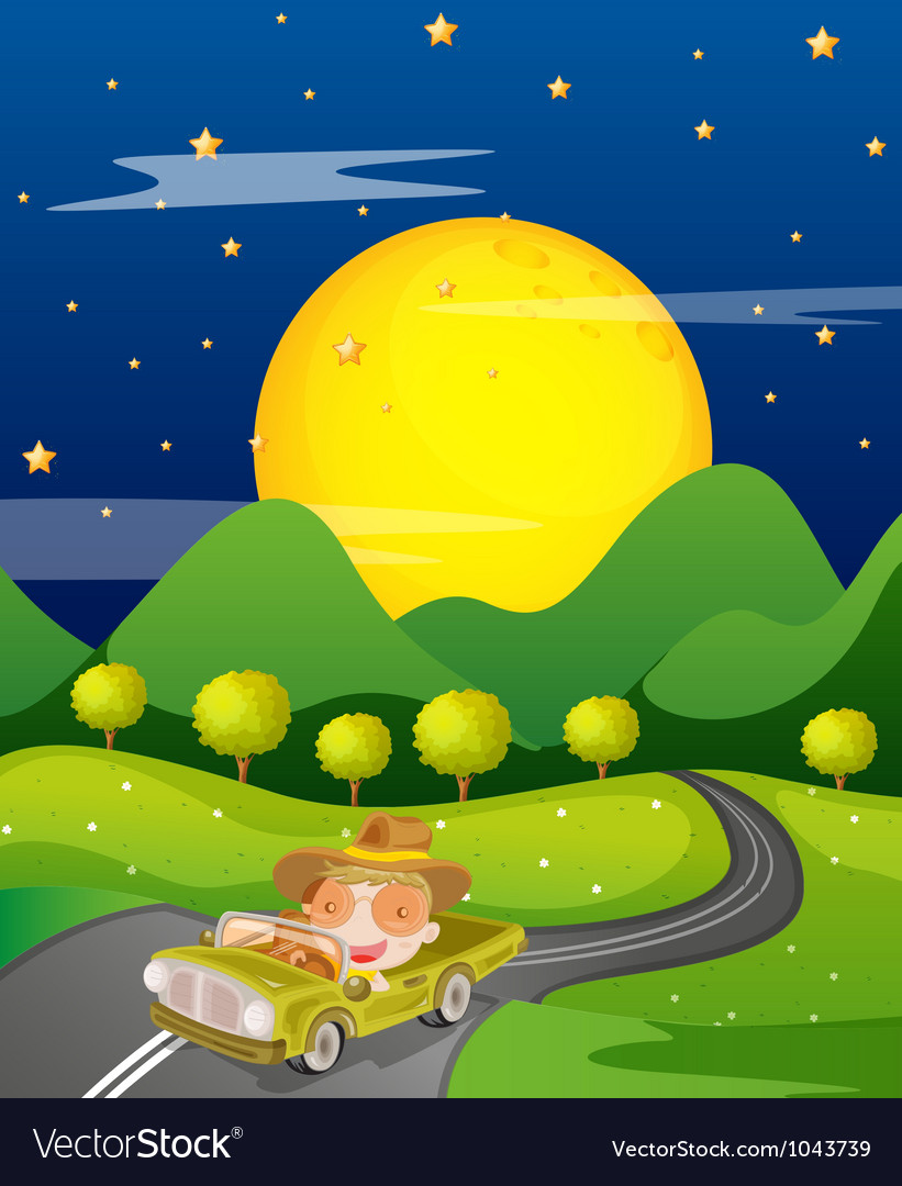 Car and road vector image
