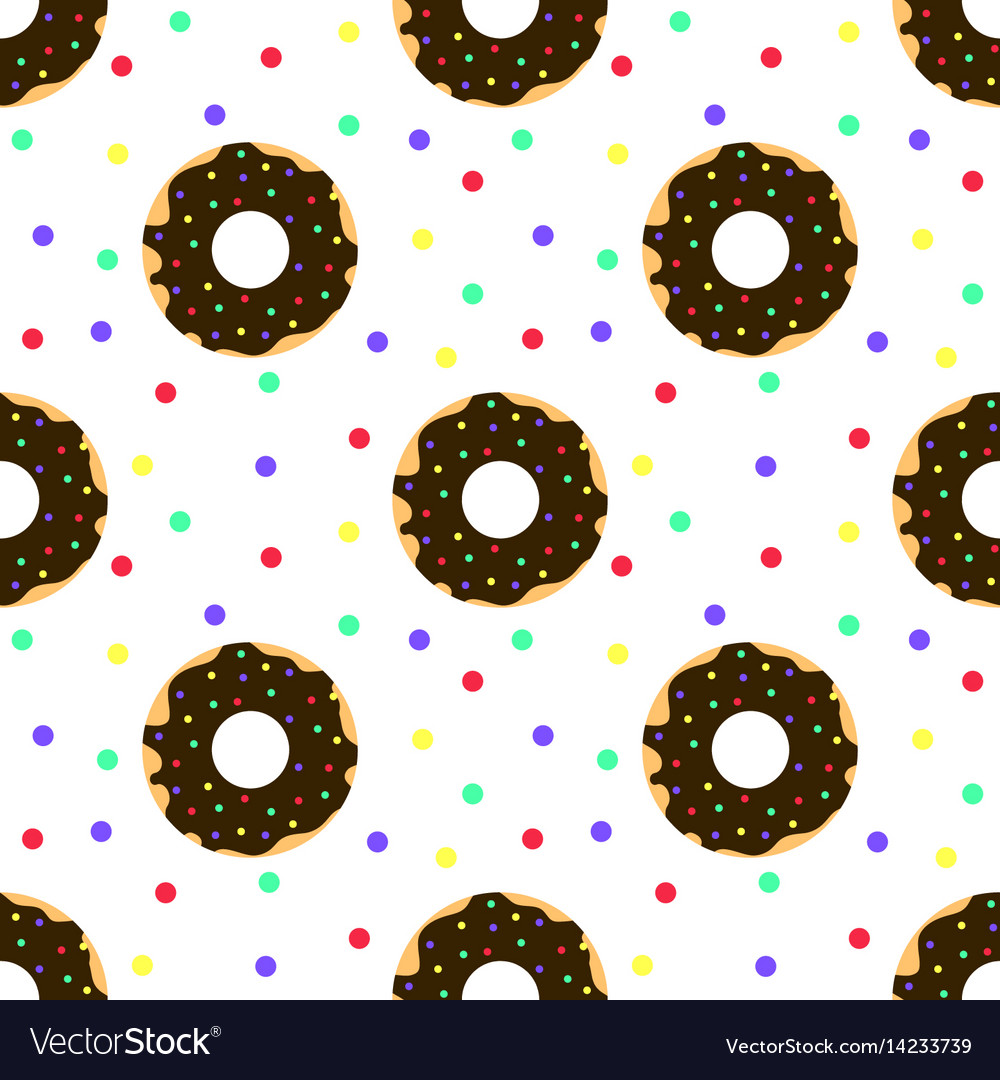 Chocolate donuts and colorful sprinkles vector image