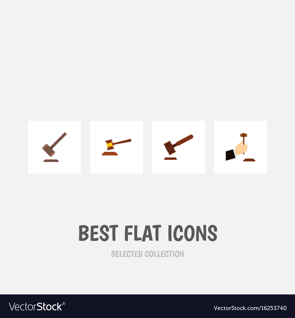 Flat icon hammer set of justice hammer law and vector image