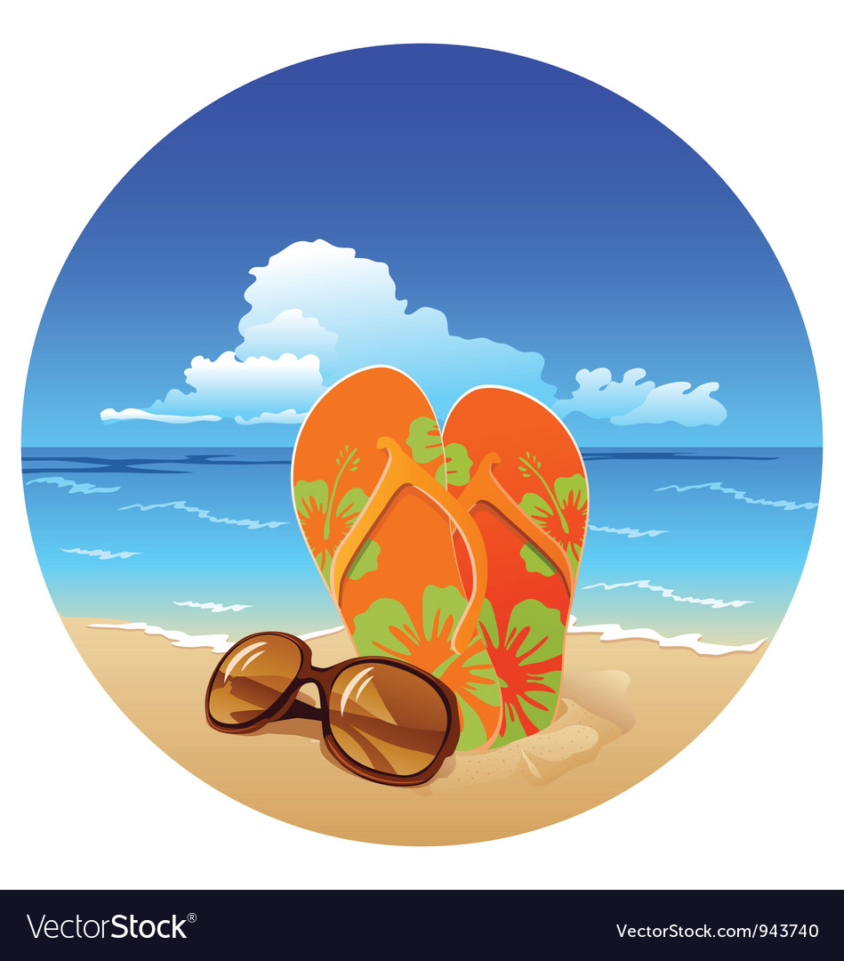 Pair of flip flops and sunglasses on the beach vector image