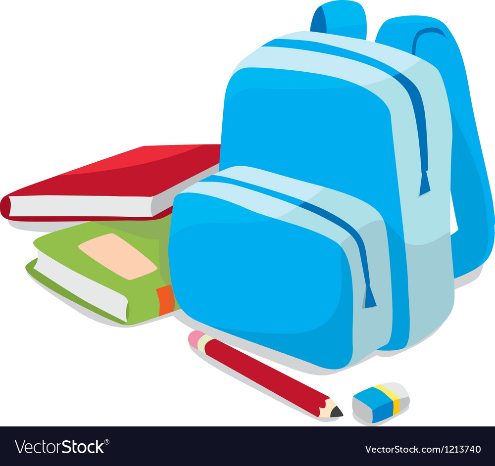 School backpack and book vector image