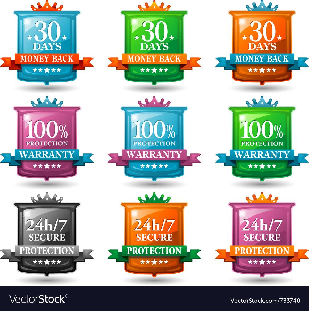 Web satisfaction guarantee badges vector image