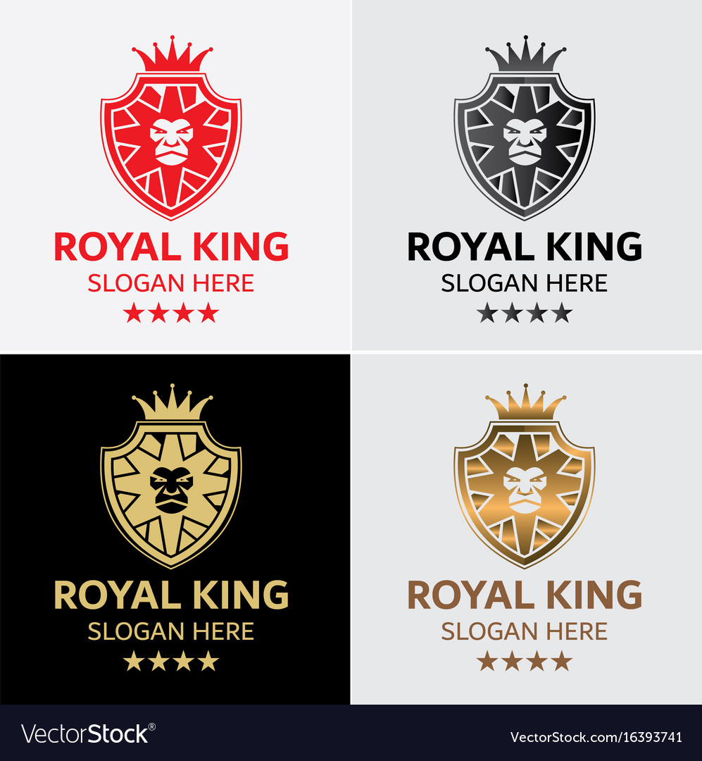 Lion king crest logo template vector image