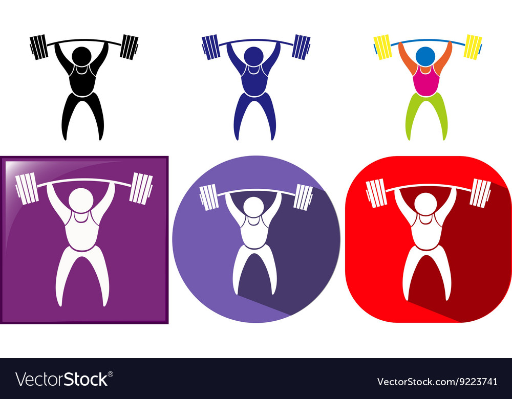 Three sport icon designs for weightlifting vector image