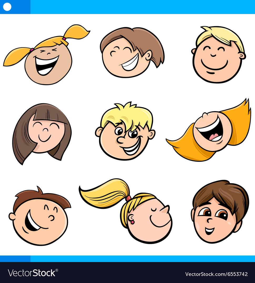 Cartoon kids characters set vector image