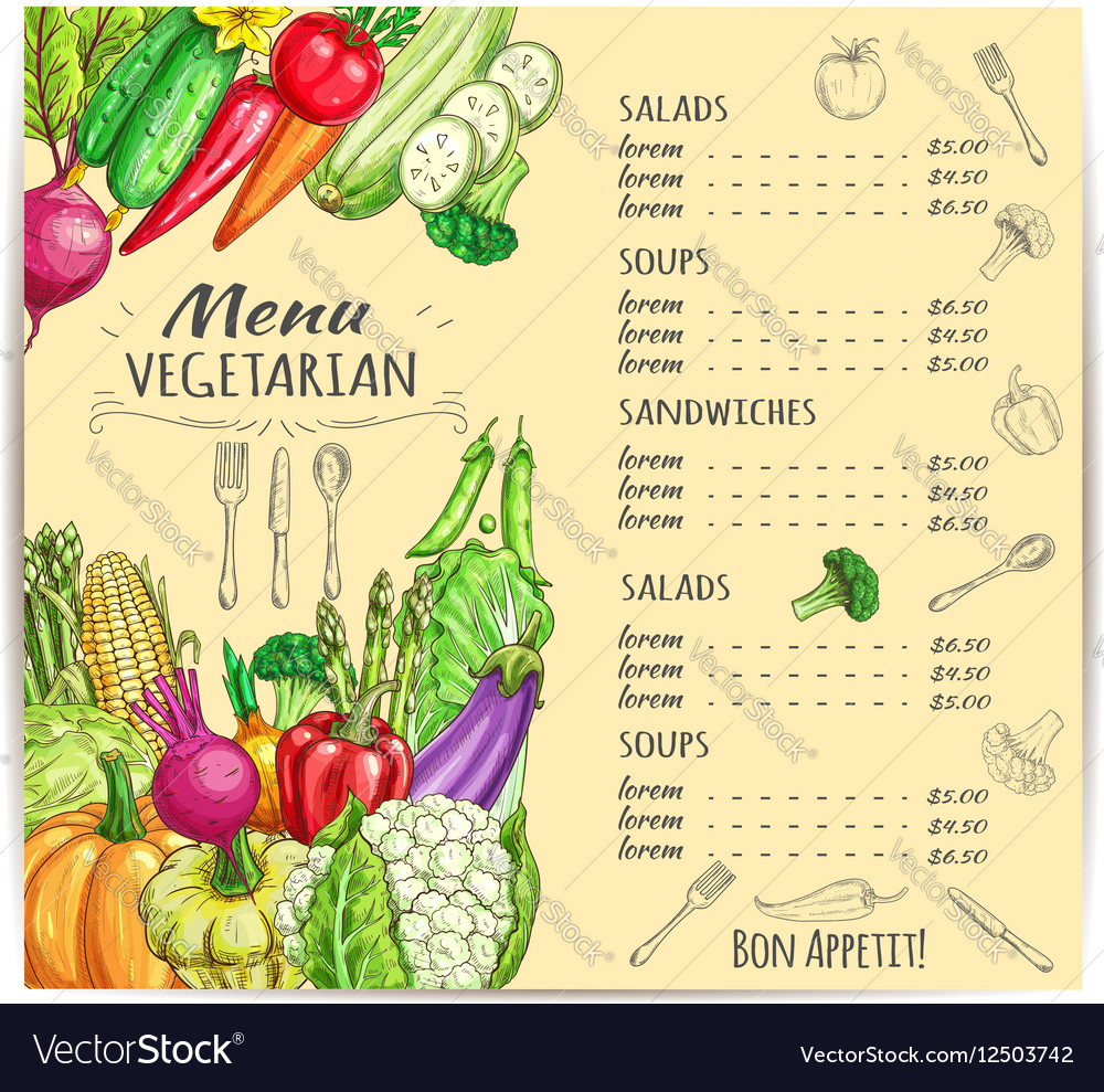 Vegetarian menu template design with vegetables vector image