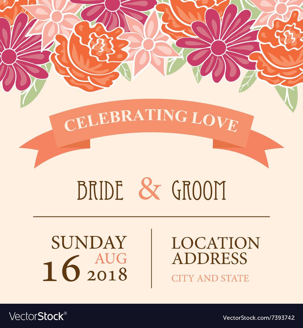 Wedding Invitation Card Background: Wedding Invitation Card With Floral Background Vector Image