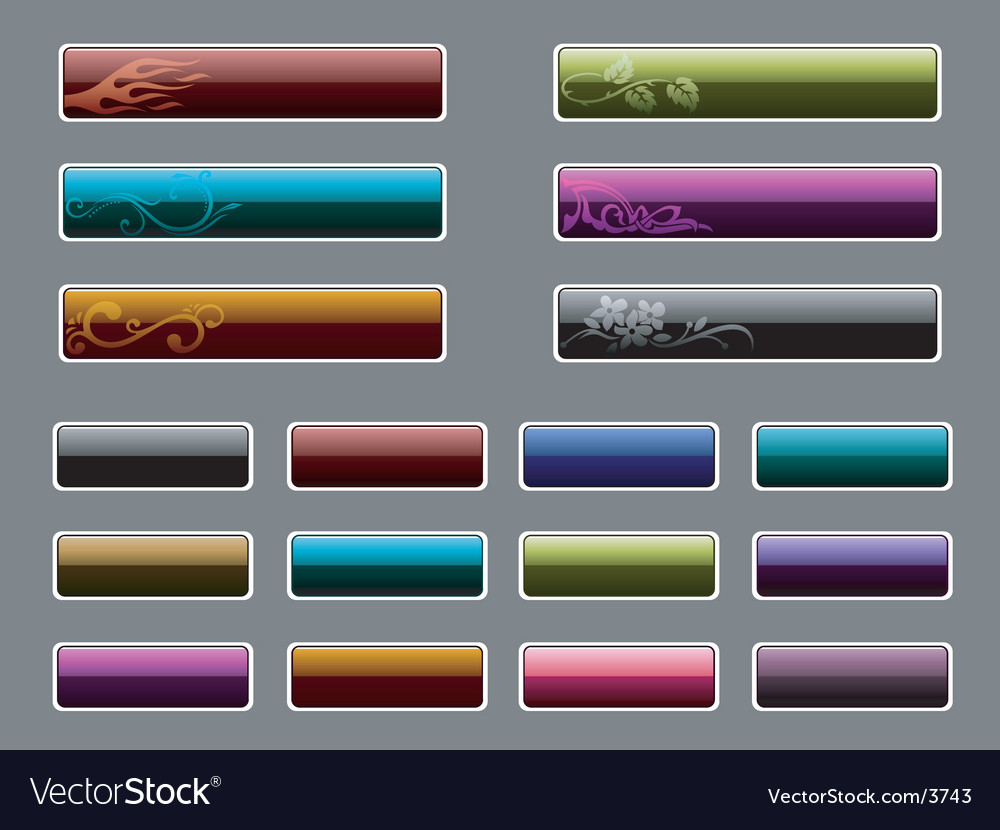 Glassy icons with floral patterns Vector Image