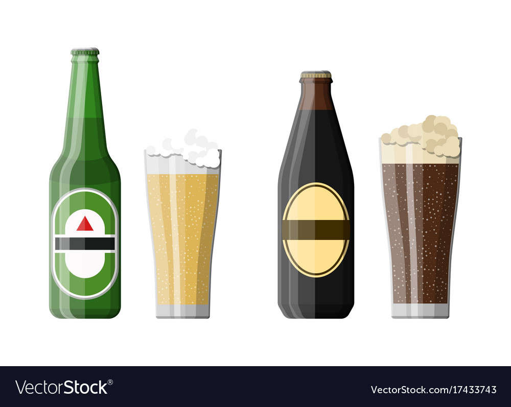 Bottle of dark stout and light beer with glass vector image