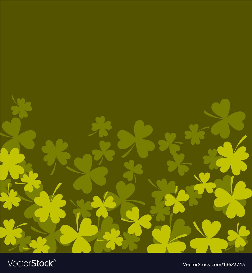 Clover shamrock dark green card background vector image
