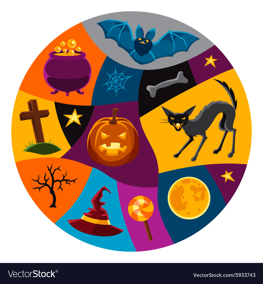 Happy halloween greeting card with characters and vector image happy halloween greeting card with characters and vector image kristyandbryce Gallery