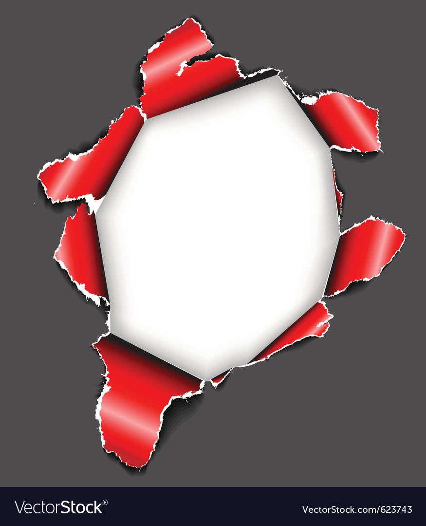 Hole in the sheet of paper vector image