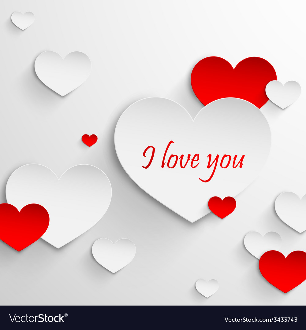 I love you Abstract holiday background with paper vector image