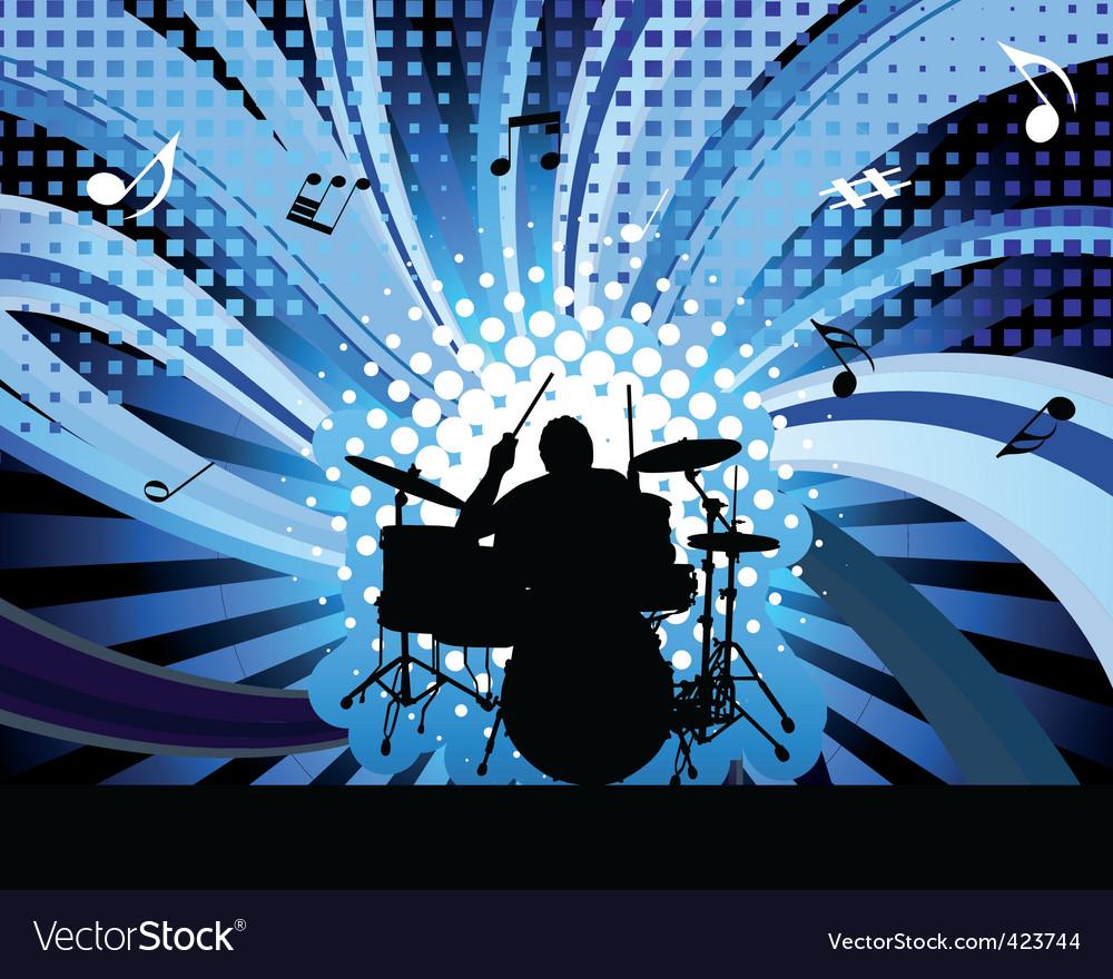 Rock group drummer vector image