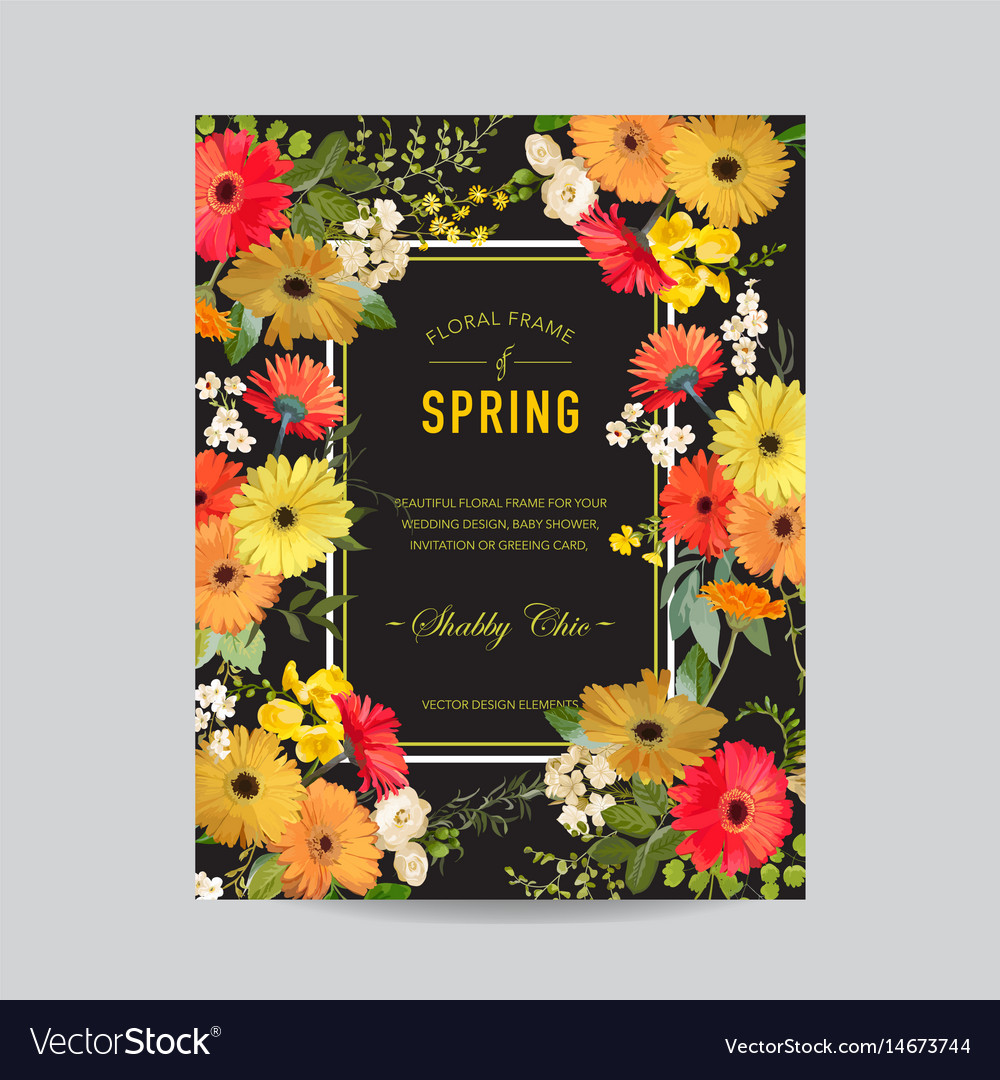 Vintage summer and spring floral frame invitation vector image stopboris Images
