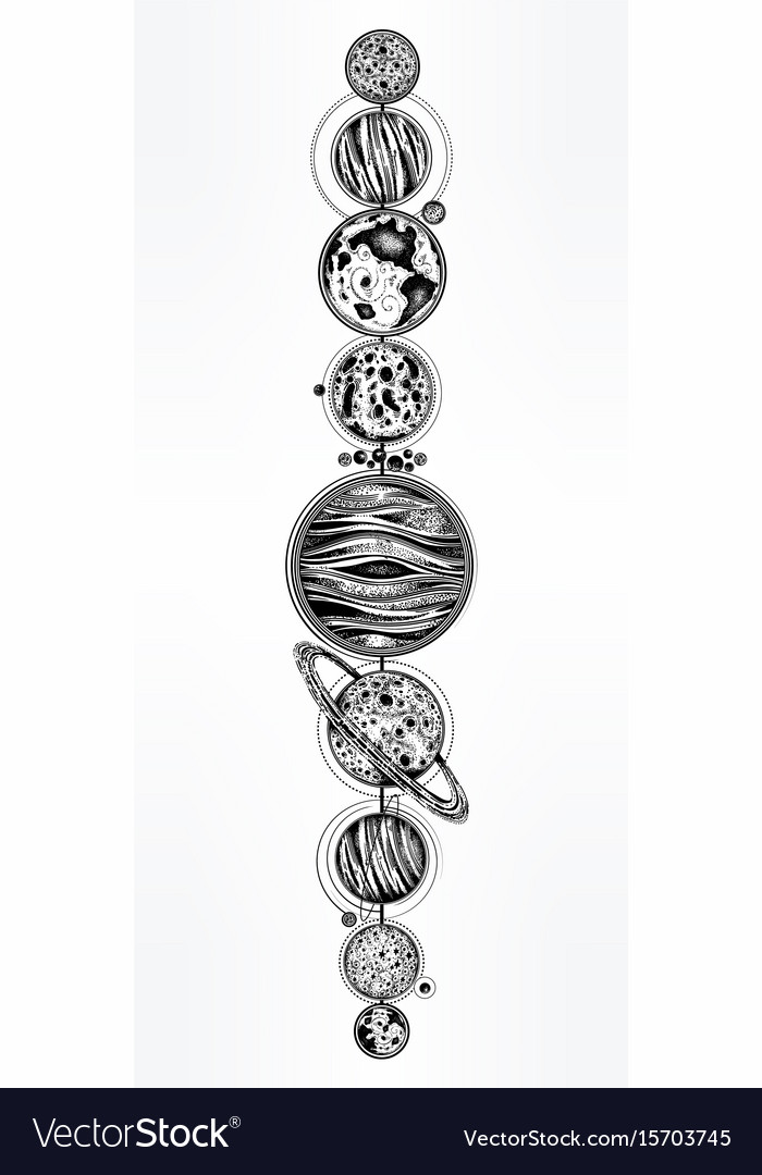 Collection of planets solar system dotwork set vector image