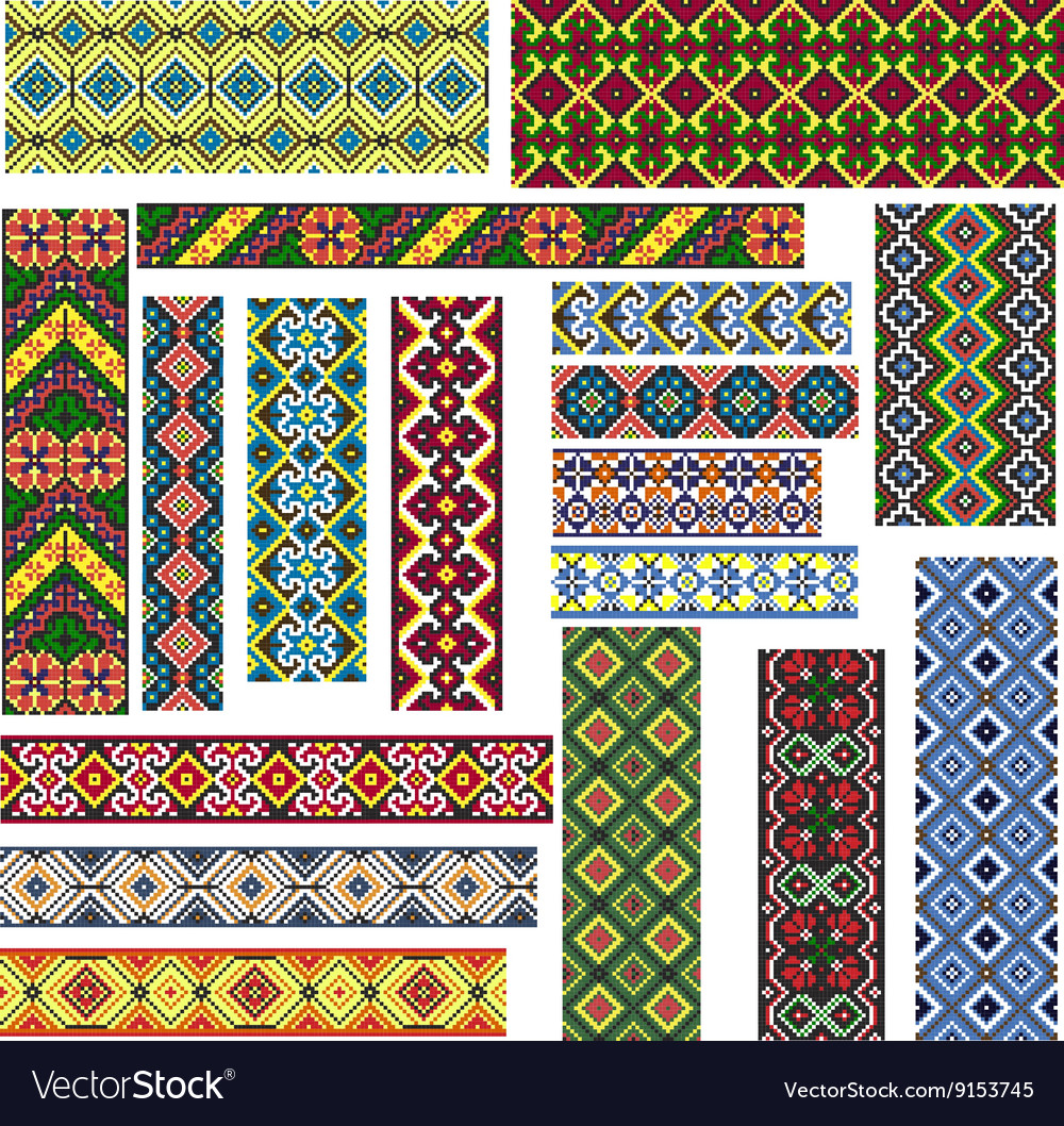 Set of Seamless Patterns for Embroidery Stitch vector image
