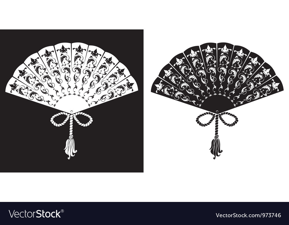 Fan - vintage - silhouettes vector image