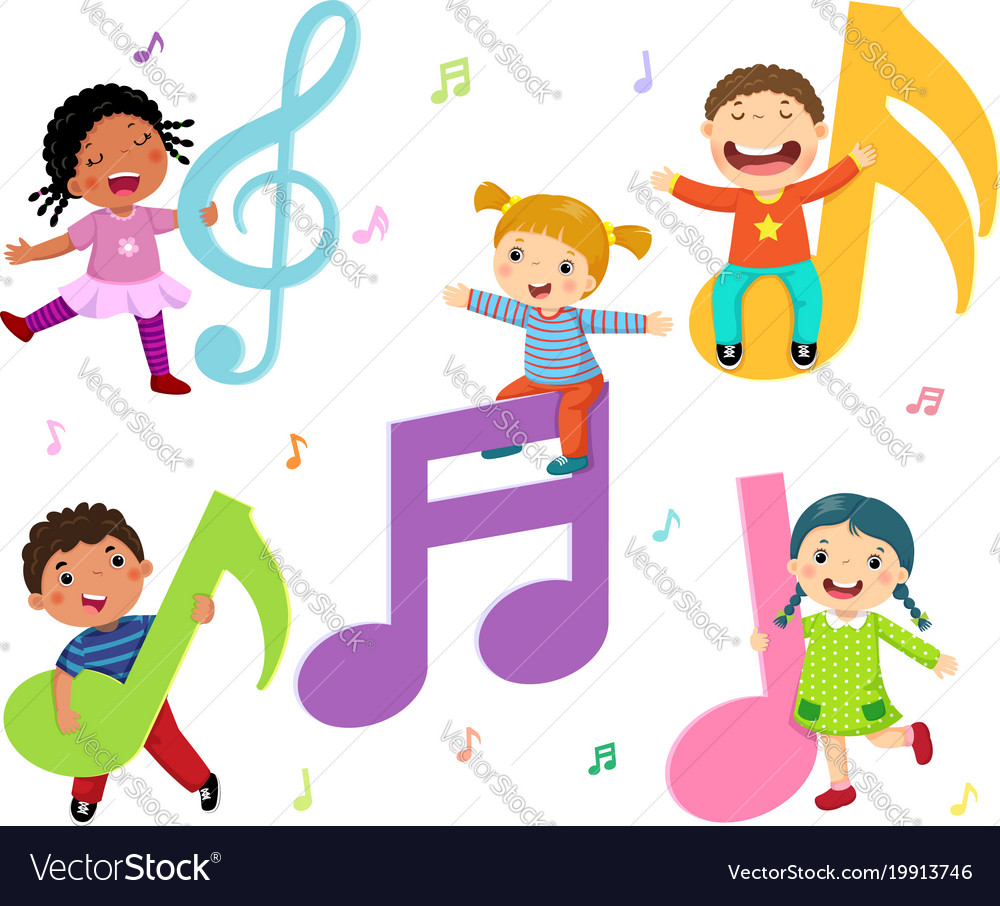 cartoon kids with music notes royalty free vector image rh vectorstock com Music Notes SVG Music Notes SVG