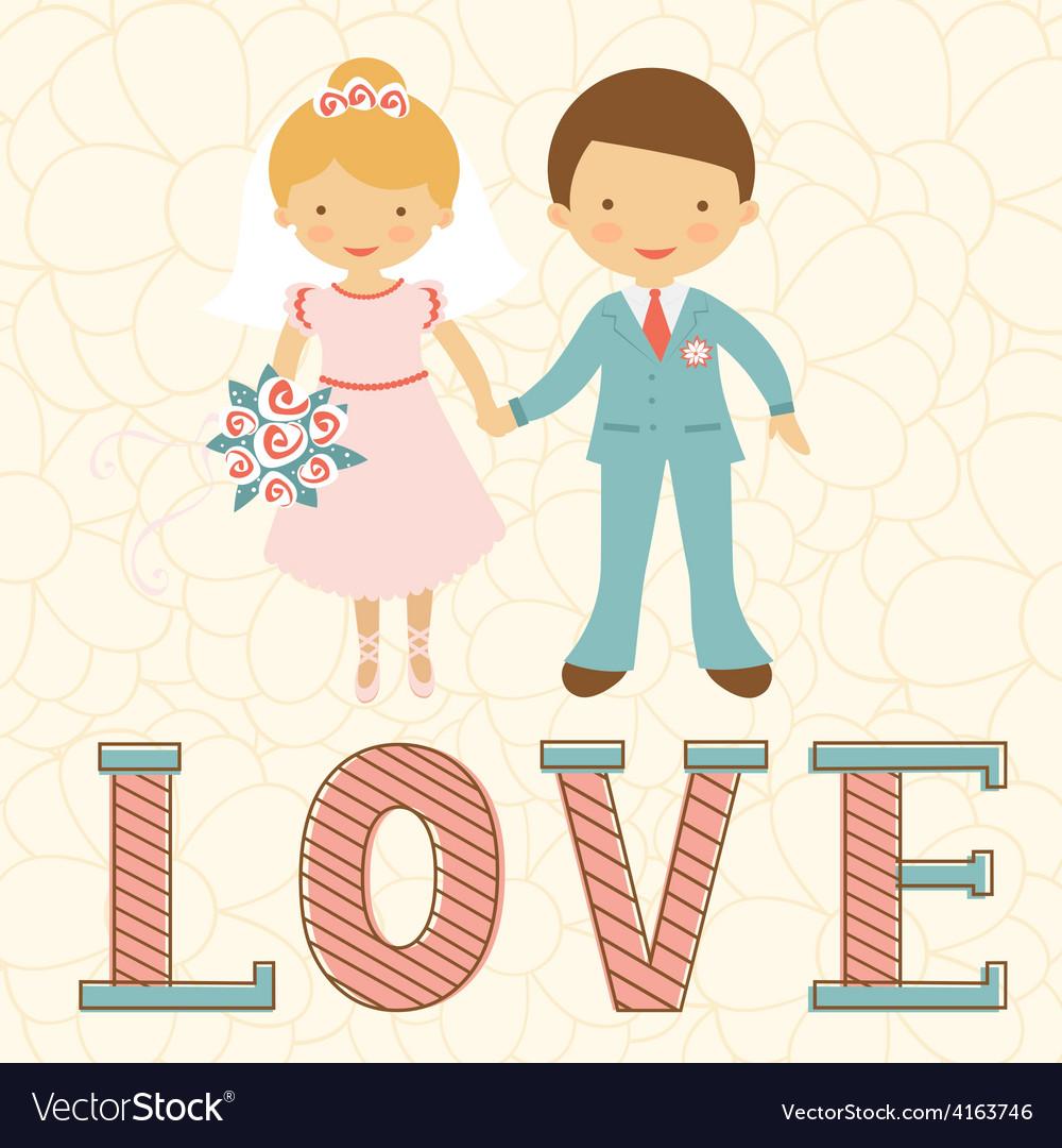 Cute wedding couple vector image
