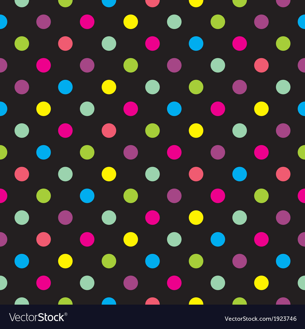 Seamless dark background with colorful dots vector image