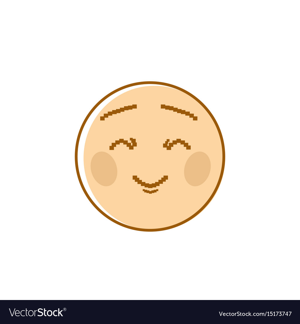 Smiling cartoon face closed eyes positive people vector image