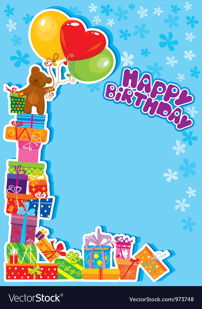 Baby boy birthday card with teddy bear Royalty Free Vector – Boy Birthday Cards