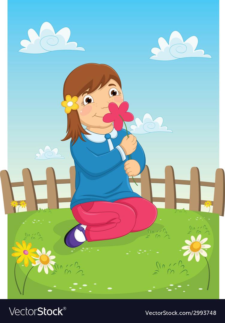 Girl Smelling Flower vector image
