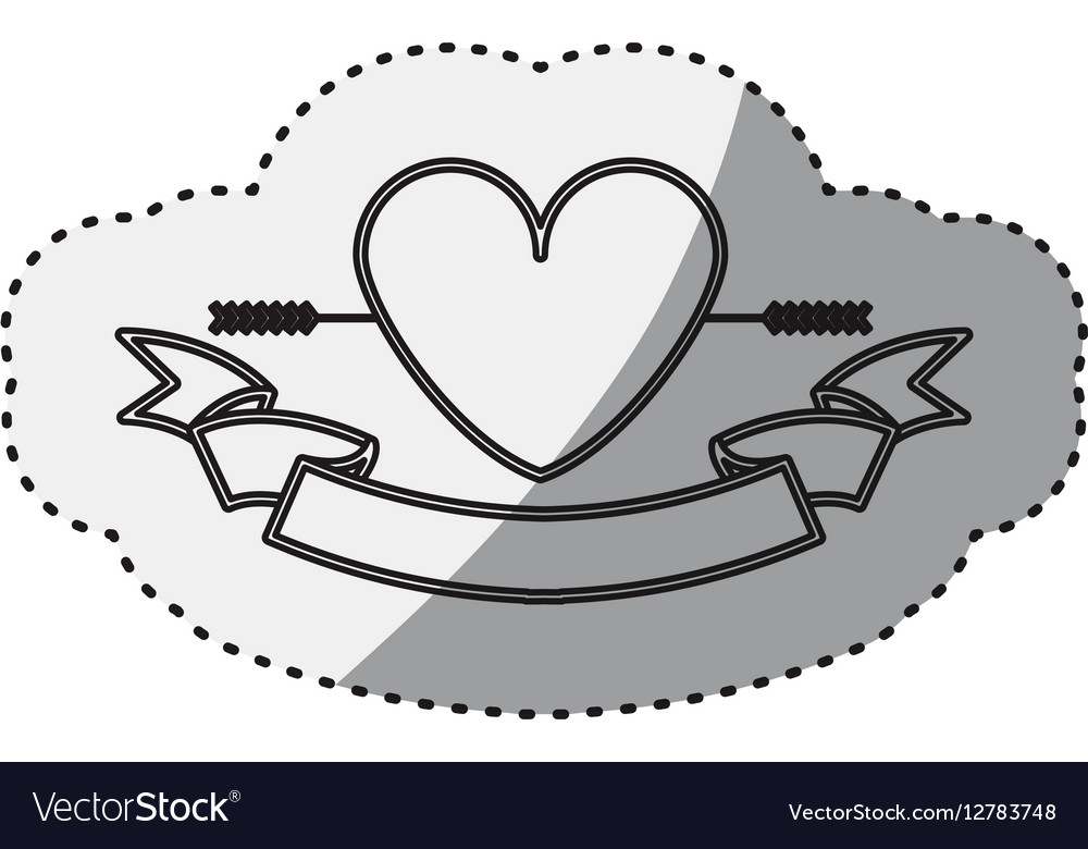 Sticker silhouette heart crossed by arrow and vector image