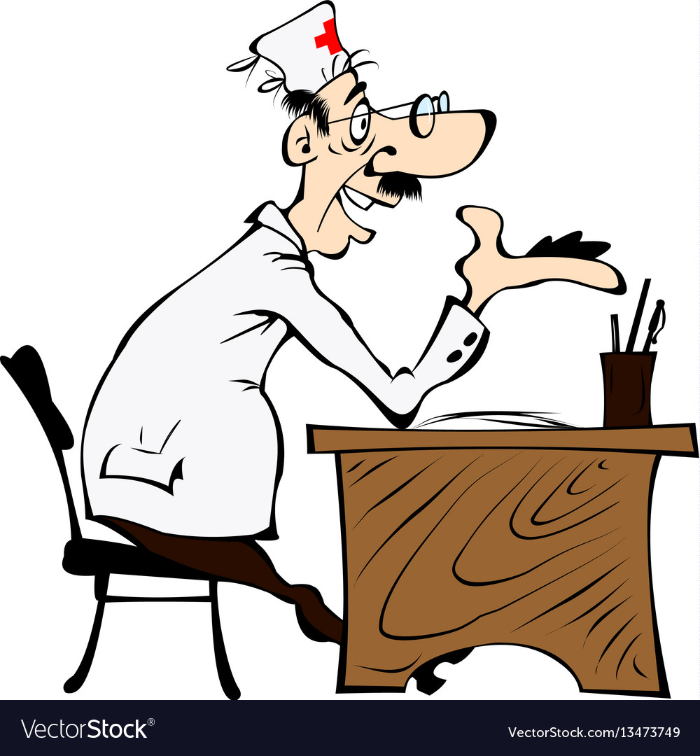Cartoon cheerful doctor vector image